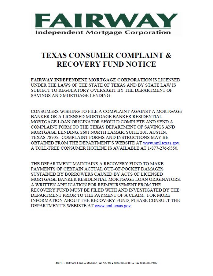 Texas Recover Fund Notice